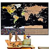 世界地図 ポスター スクラッチマップ 学習地図 旅行記念日記 クリスマスプレゼント 貼ってはがせる 世界全図 国旗入り おしゃれ インテリア 壁 アンティーク(82 x 59cm)