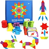 GEMEM 155 Pcs Wooden Pattern Blocks Set Geometric Shape Puzzle Kindergarten Classic Educational Montessori Tangram Toys for K