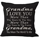 Best Gift Grandma I Love You More Than The Stars In The Sky You Mean The World To Me Blessing Cotton Linen Throw Pillow Case