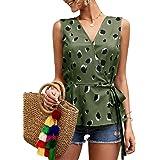 GAMISOTE Womens Peplum Cami Tops Floral Strap V Neck Ruffle Hem Halter Blouse Shirt