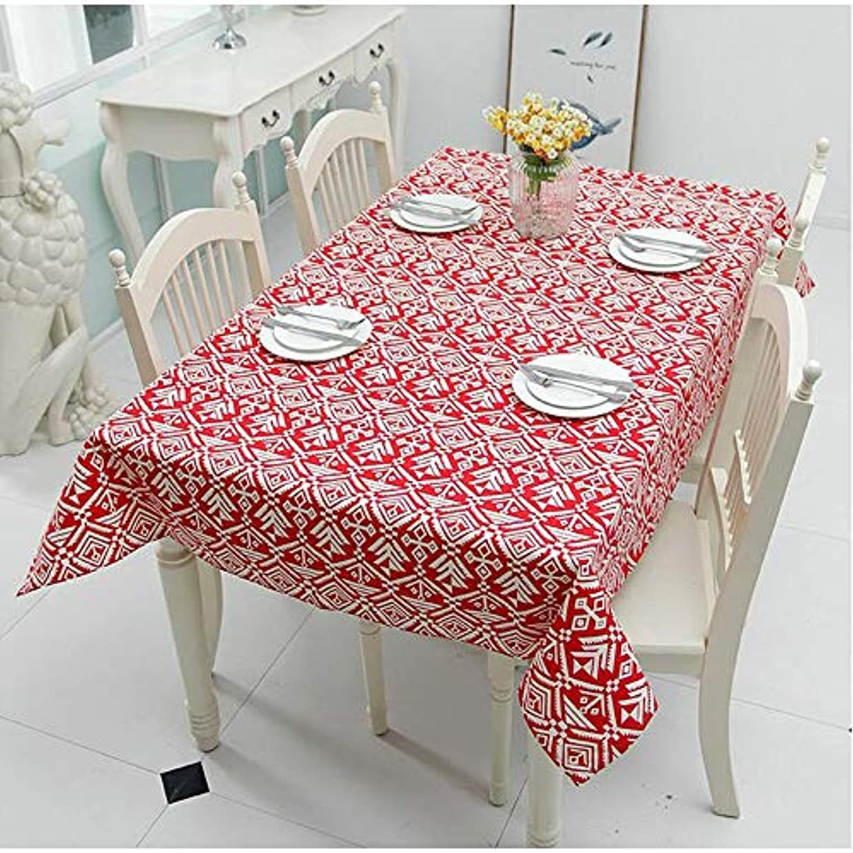 どんなときもジャンル累積Luckya テーブルクロス テーブルマット 完全なポリエステルの八角形のキャンバス抽象的な幾何学的な羽の直交テーブルクロスコーヒーテーブルテーブルクロステーブルクロス お手入れ簡単 家庭用 (Color : 4, Size : 90X90CM)