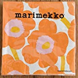 marimekko UNIKKO ペーパーナプキン 33cm/オレンジ×ピンク 64【52617】マリメッコ ウニッコ