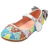 YYFURR Girls Toddler Princess Glitter Rainbow Sequins Sparkling Wedding Party School Flat Dress Mary Jane Shoes Ballerina Fla