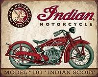 インディアンモーターサイクル★モデル101・スカウト★レトロ調★アメリカンブリキ看板