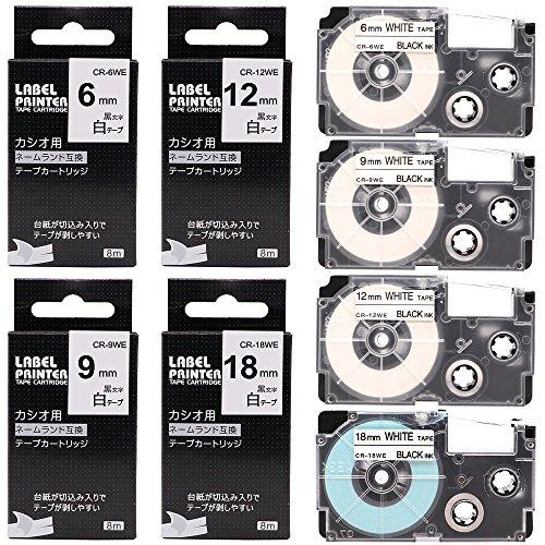 [해외]카시오 이름 랜드 라벨 라이터 테이프 흰색 이쑤시개 6mm 9mm 12mm 18mm 카트리지 XR-6WE XR-9WE XR-12WE XR-18WE 호환 품 각 1 개 화이트 4 개 팩/Casio Name Land Label Lighter Tape White Black Letter 6 mm 9 mm 12 mm 18 mm Cartridge XR - 6 ...