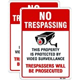 Dxyizus signs No Trespassing Video Surveillance Sign Outdoor Matel Aluminum 10x14 Inch UV Ink Printed for House and Business