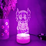 Kawaii 3D Anime Night Lamp Miss Kobayashi's Dragon Maid Figurine Silhouette Laser Engraved Acrylic LED Upward Lighting Room D