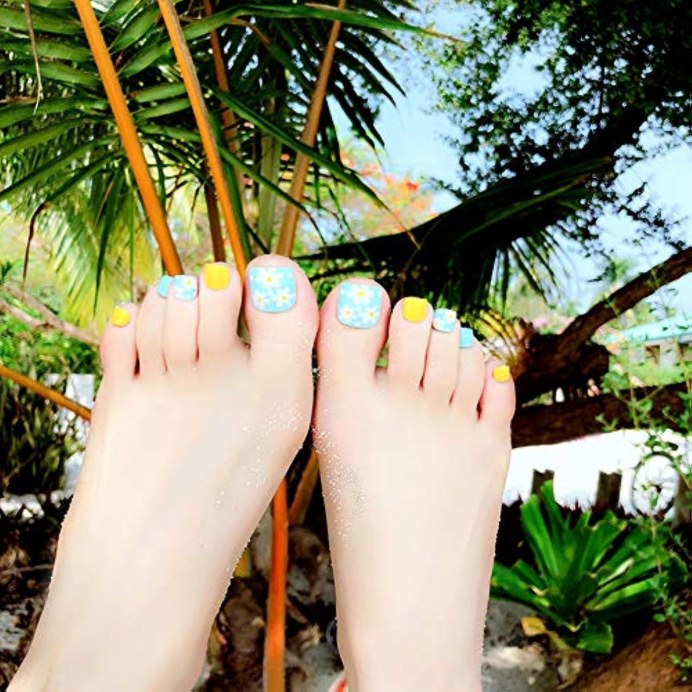 監査動脈スチュアート島XUTXZKA 24本の青い花のつま先の偽爪青黄色完成した足のマニキュアステッカー