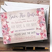 Blush Dustyピンク&ライラックヴィンテージ水彩花柄Personalizedウェディング保存。。。 10 Invitations