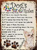 私の犬のルール 金属板ブリキ看板注意サイン情報サイン金属安全サイン警告サイン表示パネル