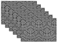 DII Woven Damask Vinyl Double Border Placemats for Indoor/Outdoor Use, Set of 6, Black and White