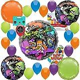 (スプラトゥーン) Splatoon パーティー用品 誕生日バルーンデコレーションバンドル 誕生日カードと8つのお菓子バッグ付き