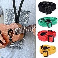 ホット販売調節可能なナイロンウクレレストラップギターハングネック音楽楽器ストラップスリングフック付き耐久性のあるギターアクセサリー (Color : Black)