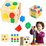 Melissa & Doug 575 Shape Sorting Cube - Classic Wooden Toy with 12 Shapes