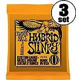 【国内正規輸入品】ERNIE BALL アーニーボール エレキギター弦 #2222 HYBRID SLINKY 3SET ハイブリッド・スリンキー 3セット