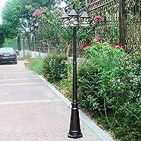 Pointhx防雨防錆屋外中庭街灯ヨーロッパアンティークアートガラスシェードヴィラ装飾芝生ランプ望楼ガレージテラス列池照明道路安全スポットライト(E27 * 3、高さ-200cm)
