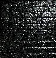 ブリック タイル レンガ 壁紙 シール 78cm×70cm 10枚 セット (厚さ約10mm ) (黒)
