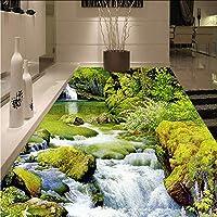 Mingld Hd川3Dステレオフロア壁画リビングルームの浴室防水滑り止め自己接着環境に優しいPvc床の壁紙ステッカー-200X140Cm