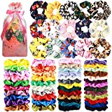 65 Pcs Hair Scrunchies Velvet Hair Scrunchies Silk Scrunchies Chiffon Flower Scrunchies Elastic Hair Ties Ropes Scrunchie for Women or Girls Hair Accessories