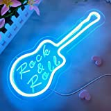Divatla Guitar Neon Sign with 3D Art Rock & Roll for wall decor, Neon Guitar Signs for Bedroom, Upgrade Neon Sign Music for w