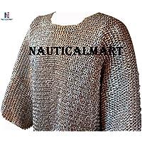 NAUTICALMARTメンズ長袖フラットドームRivetedアルミMaille胸56 Large陽極酸化