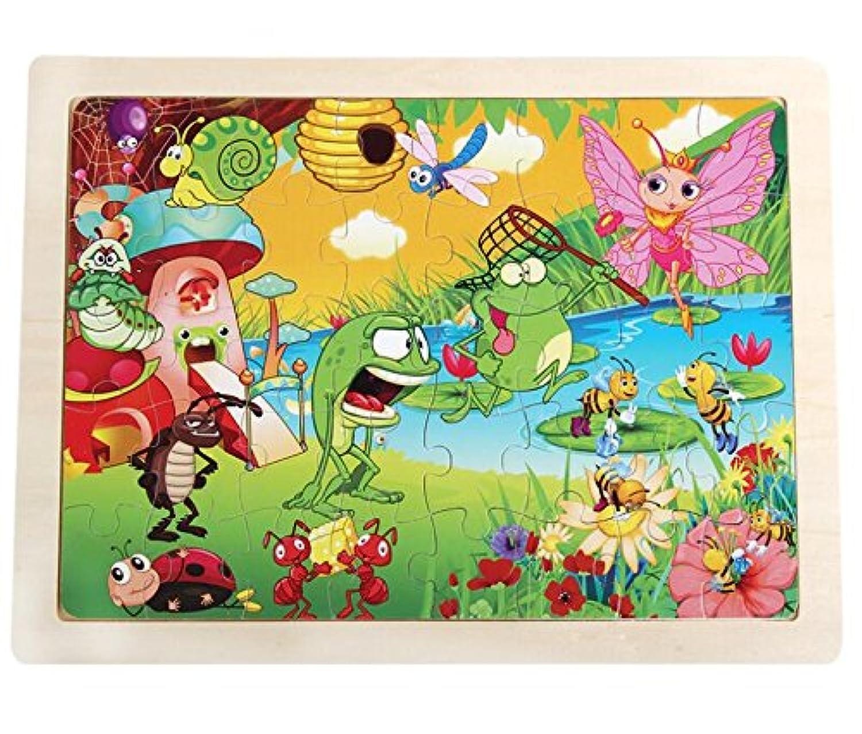 HuaQingPiJu-JP 教育木製漫画のパズルアーリーラーニングの数字の形の色の動物のおもちゃ子供のための素晴らしいギフト(カエル)