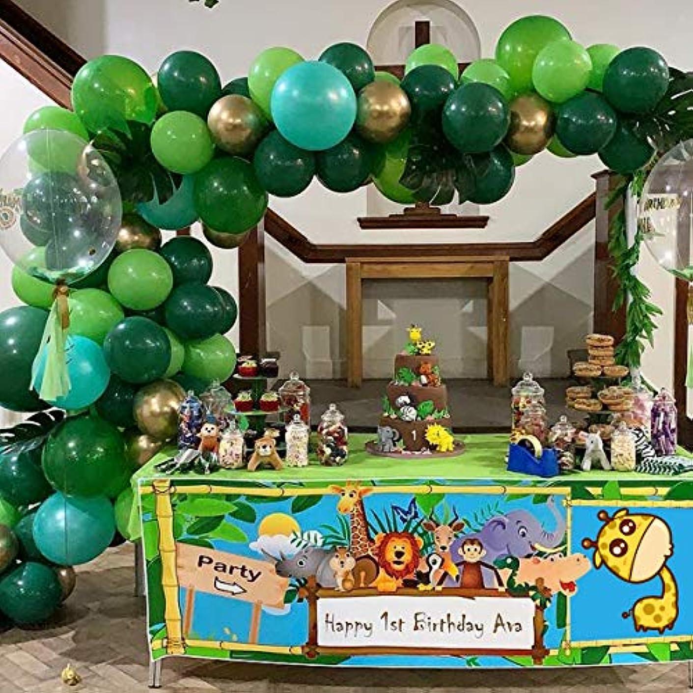 ショットアプローチ出発ジャングルサファリ バルーンガーランド アーチキット 102個 グリーンとゴールドのバルーン 誕生日パーティー ベビーシャワージャングルテーマパーティーデコレーション