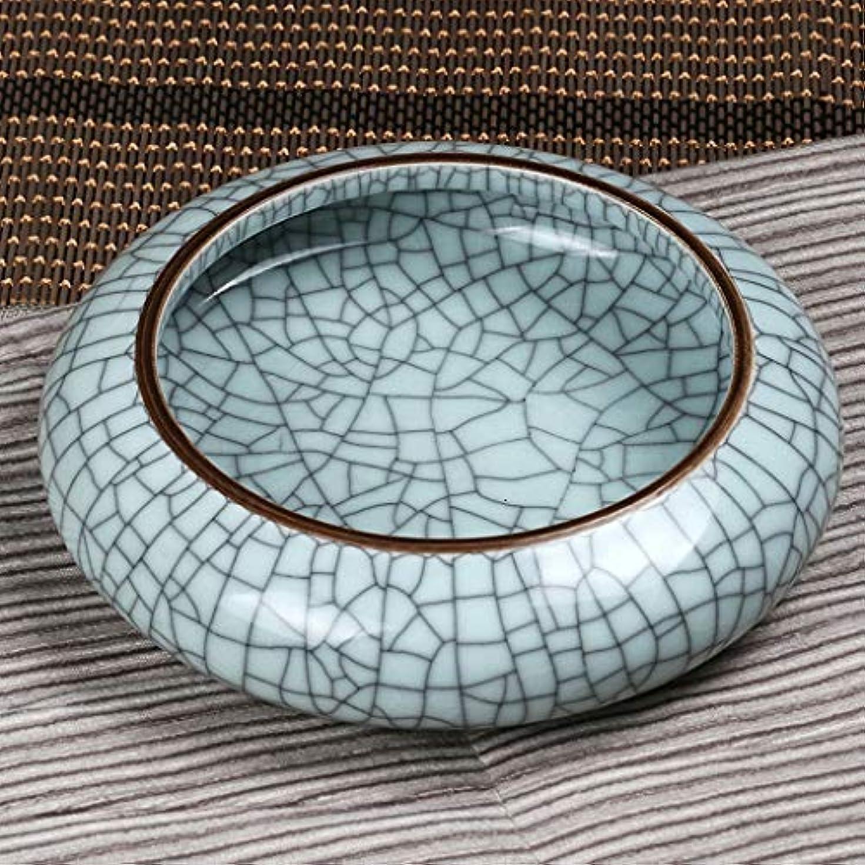 ロマンスクリップ蝶注釈を付けるZXW 灰皿- 景徳鎮大クラック陶磁器灰皿、メロンとフルーツシェルゴミシリンダー (色 : Gray, サイズ さいず : Ø23x7.5cm)