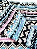 コットン リネン 民族 調 柄 ストライプ 生地 DIY ハンドメイド 手 作り 作品 に (ネイティブ柄ブルー×ピンク)