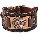 Juland Punk Braided Rope Alloy Bracelet Bangle Wristband Genuine Leather Bracelet Mens Leather Cuff Bracelet Tree of Life Wri