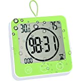 Waterproof Bathroom Clock and Timer for Shower, Digital Water Resistant Shower Alarm Clocks with Suction Cup, Water Proof Bat