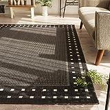北欧 風 薄型 平織り ラグ カーペット ( エセンザ 160x230cm ブラック ) 約 2.7畳 ウィルトン織り フラットタイプ