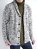 (オークランド) Oakland フィッシャーマン ケーブル編み ニット カーディガン カーデ 厚手 セーター 起毛 防寒 メンズ ライトグレー引き揃え Lサイズ