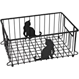 Lily's Home Cat Lovers Metal Wire Organizer Basket for Kitchen, Pantry, Cabinet, Bathroom and Office (Large)