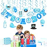 30PCS IT'S A BOY Banner Boy Baby Shower Blue Swirl Hanging Decoration for Parties [並行輸入品]