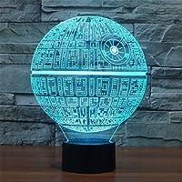 3dランプDeath StarテーブルランプOptical IllusionビジュアルLEDナイトライトfor Star Wars、Elstey 7色アクリルプレート& ABSベース& USB充電、Touch Sensitiveスイッチライト