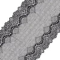Homyl 5ヤード レース トリム リボン 衣料品 結婚式 縫製工芸品 全2色 - ブラック