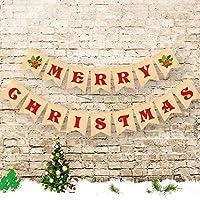 クリスマスバナー メリークリスマス 黄麻布バナー クリスマスデコレーション 暖炉 マントル 壁 木 リビングルーム デコレーション