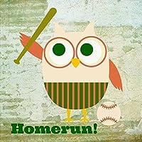 野球スポーツフクロウ12x 12子供のアートプリントポスター装飾by Brandiフィッツジェラルド