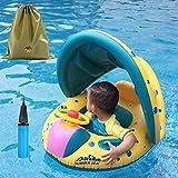 【Pedonir】浮き輪 ベビー用 赤ちゃん キッズ 子供 屋根付き 足入れ 足穴 座付き 収納袋付 フロート 幼児 水泳 プール 天幕 日焼け止め サンルーフ
