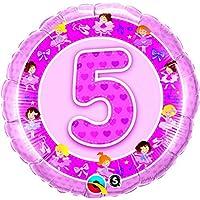 Qualatex 18インチAge 5ピンクBallerinasデザイン円形ホイルバルーン( 1サイズ) (ピンク)