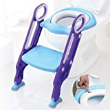 Baby Toddler Kids Potty Toilet Training Seat with Step Stool - Soft Cushion - Adjustable Footrest - Sturdy Design - Foldable