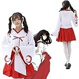 コスプレ 衣装 巫女 和服 ミニ巫女 コスチューム お正月 節分 大人 白 赤 レディース (M)