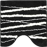 GRUND トイレマット 北欧 50×50cm 洗える シャギーラグ トイレタリー ゼブラ柄 ストライプ ブラック 黒 ホワイト 白 モノトーン
