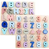 GEMEM 木製パズル 幼児向け 大きなアルファベットABC大文字と数字 木製 モンテッソーリ 学習ボード 教育玩具 男の子 女の子 2個セット