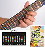 Guitar Fretboard Note Decals Fingerboard Frets Map Sticker for Beginner Learner Practice Fit 6 Strings Acoustic Electric Guitar FineFun (Black) [並行輸入品]