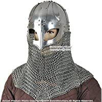 Medieval歯車ブランドBattle Ready Viking Spectacleヘルメットwith Chainmail Aventail 16 GスチールSCA LARP