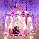 Yihiro キッズテント 室内 室外 プレイテント子供用 秘密基地 知育玩具 可愛い 6角子供用テント 【LED電球付き】姫テント クリスマス ギフト(ピンク)