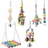 6 Pcs/Set Parrot Toys Swing Chewing, Parrot Wood Chewing Swing Toy Hanging Bridge Pet Toys, Bird Swings, Bird Toys