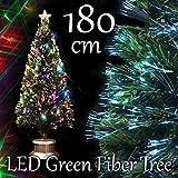 人形本舗 クリスマスツリー グリーンファイバーツリー マルチLED48球付 ファイバー 180cm